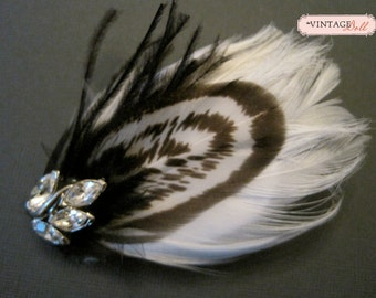 Small Black and White Feather Hair Clip
