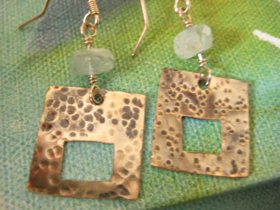 Sterling Silver Hammered Earrings Aquamarine Birthstone Earrings Hammered Square Earrings