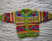 Apples Cardigan - Bright multicoloured, patterned - Hand knitted - Wool