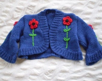 Anzac cropped shrug - hand knitted, wool