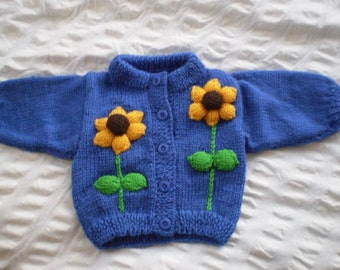 Sunflower cardigan - hand knitted, wool