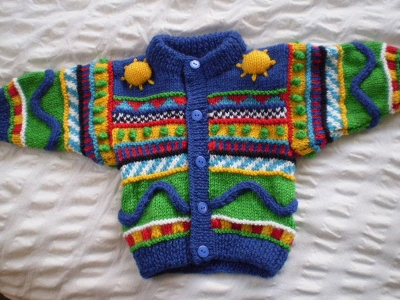 Suns - Bright, multi-coloured cardigan - hand knitted, wool