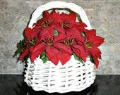Poinsettias in Heavy White Wicker Basket, 1980s