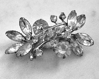 Classic Faux Diamond Brooch or Shawl Pin, Striking Mid Century Piece