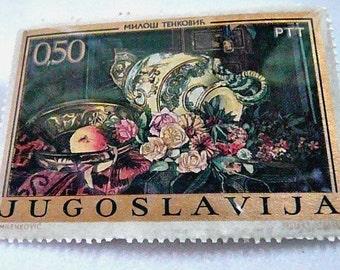 Postage Stamp Pin, Yugoslavian, Still Life