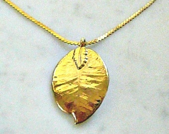 Real Leaf Necklace, Gold Plated, Lovely, Unusual