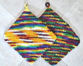 PAIR of Vintage Knitted Pot Holders, Colorful, 1980s