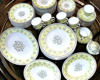 """WEDGWOOD CHINA Service for 12 -- 73 Pcs, Gorgeous """"Pimpernel"""" in Buttercream Yellow and Soft Gray with Gold Accents, Mid Century Elegance"""