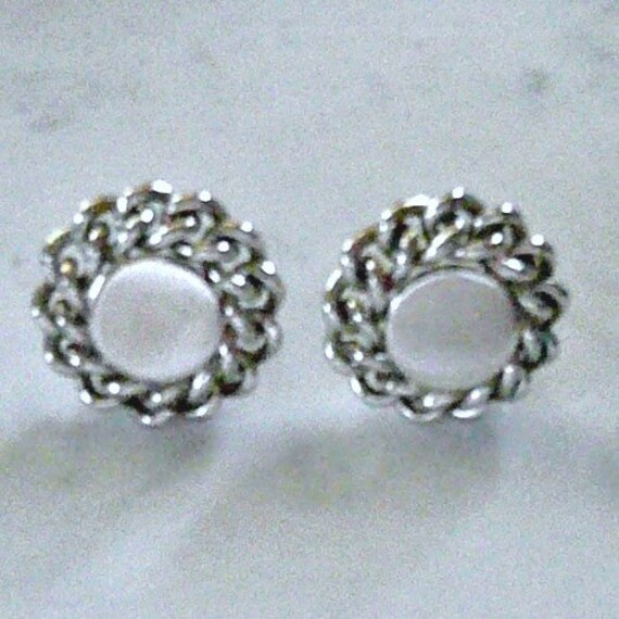 Mid Century Coro Silver Tone 'Chain' Earrings