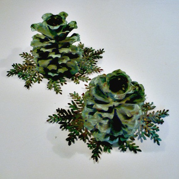 PAIR Pine Cone Candle Holders, Copper with Green Patina, 1970s