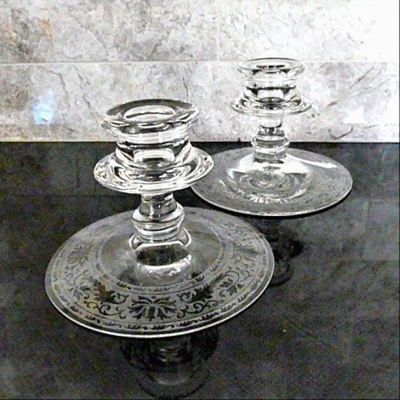 FOSTORIA Royal Etch, Glass Candle Holders, Set of Two, 1920s - 1930s