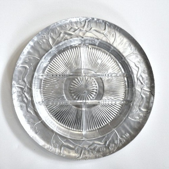 ART DECO REINDEER Forged Aluminum Platter with Sectioned Heavy Glass Serving Dish, Machine Age Treasure