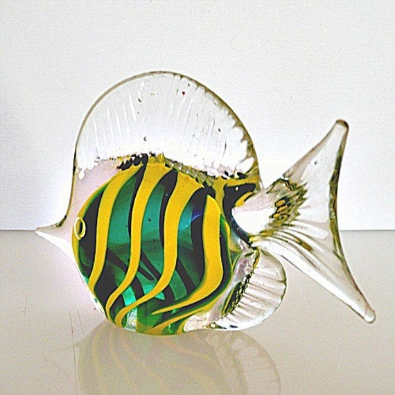 Green and Yellow Glass Fish, Paperweight or Bright Ocean Decor
