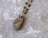 Lake Michigan Fossil Stone Pendant Necklace