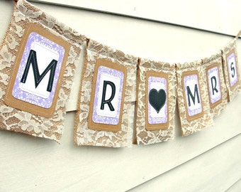MR & MRS Burlap and Lace Banner with Heart, Rustic Chic Wedding Reception Sweetheart Table, Custom Colors Available