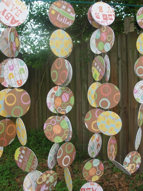Paper Circle Garland, Baby Shower Decoration, 13 feet Double Sided