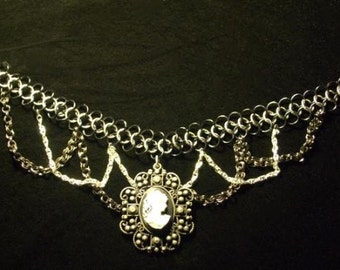 Black and Silver Chain Mail Choker with Cameo