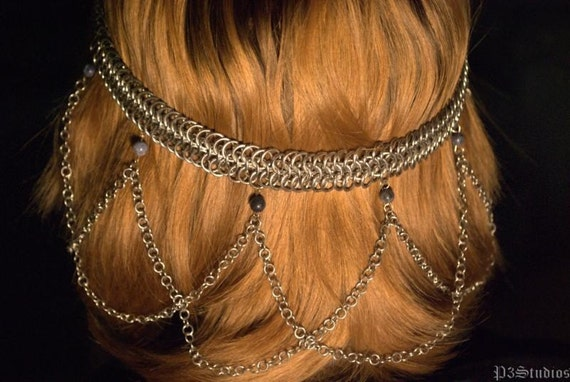 Sodalite Beaded Chainmail Headdress - Made to Order