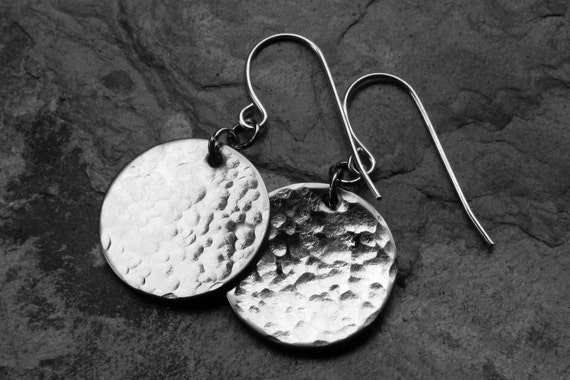 Hammered Stainless Steel Round Disc Earrings - 3/4 inch discs