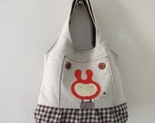 Medium Linen Tote with Hand Painted Illustration
