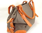 The Hampton - Cotton Canvas Bag with Crackle Leather