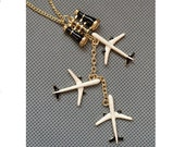 Travel Around the world telescope plane necklace unique gift for her him