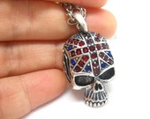 skull rhinestone UK flag necklace cool unique punk goth gift for him her/retro SILVER tone