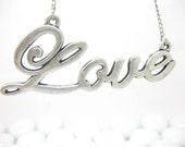 SALE Love necklace word letter retro silver tone/monogram necklace