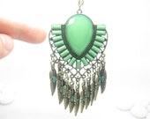 LARGE cut gemstone tone feather leaf tassel pendant necklace/GREEN