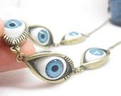 5 blue angel eye pendant short necklace/RETRO BRASS tone