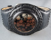 Leather Cuff Bracelet Natural Stone Flower Obsidian hand crafted beauty