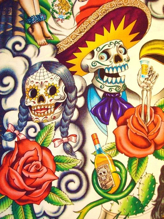 Contigo de Alexander Henry Fabrics Dia de los Muertos Day of the Dead