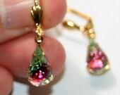 Vintage German IRIS rainbow sugar glass gold plated earrings