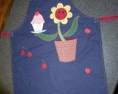 quirky applique 'happy apron'