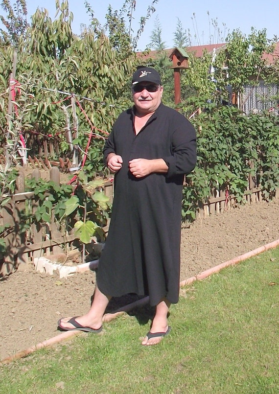 Unisex,Traditional Turkish Kaftan-Black-Hand Woven Pure Cotton-Gifts under 100 USD