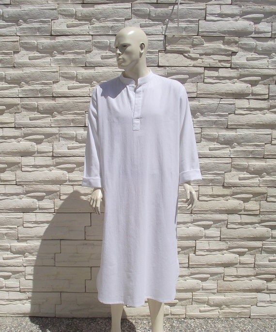 Unisex Traditional Turkish Kaftan-White-Hand woven pure cotton-Gifts under 100 USD