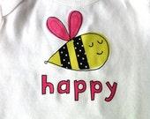 6-12  Months Onesie Bee Happy Pink Short Sleeve
