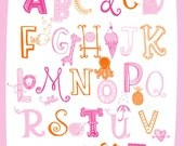 Illustrated Alphabet Wall Art Print- Pinks