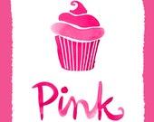 Wall Art Print Color Series- Pink Cupcake