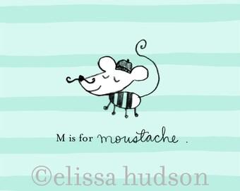 Moustache Mouse Print