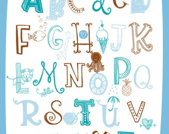 Illustrated Alphabet Wall Art Print- blue and brown