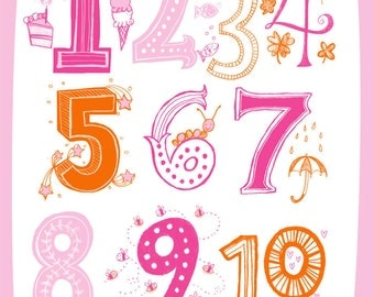 Illustrated Numbers Wall Art Print Count to 10 Pink Orange