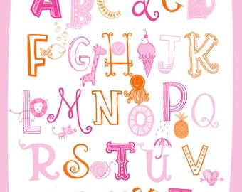 Illustrated Alphabet Wall Art Print- Pinks
