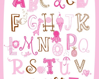 Illustrated Alphabet Wall Art Print- Pink Brown