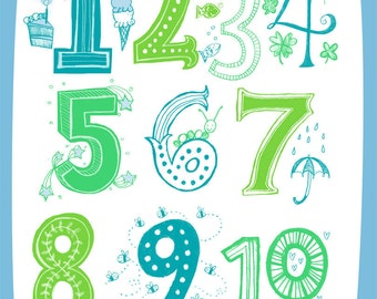 Illustrated Numbers Wall Art Print Count to 10 Blue Green