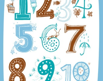 Illustrated Numbers Wall Art Print Count to 10 Blue Brown