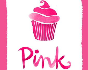 Wall Art Print Color Series- Pink Cupcake