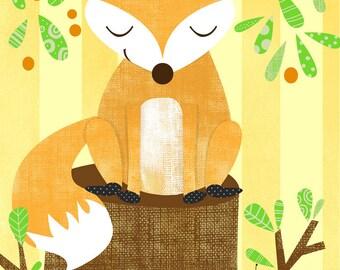 Wall Art Print Storybook Woodland Series- Fox