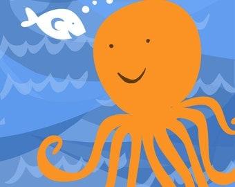 Ocean Wall Art Print Whale Octopus Boat Series-Octopus Print