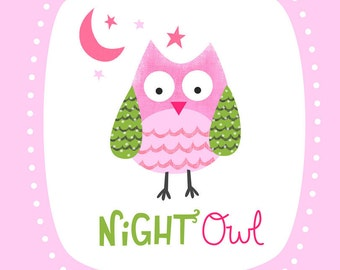Night Owl Nursery Wall Art Print- Pink
